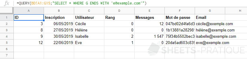 google sheets query where ends with like