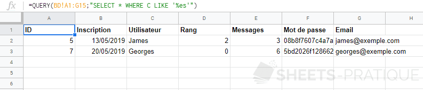 google sheets query where like termine par