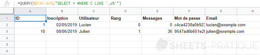 google sheets query where like underscore