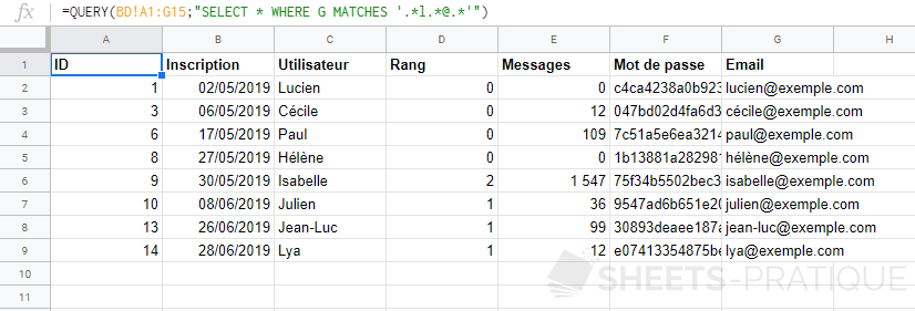 google-sheets-query-where-matches-regex - where-like