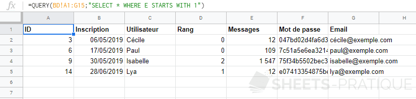 google sheets query where starts with like