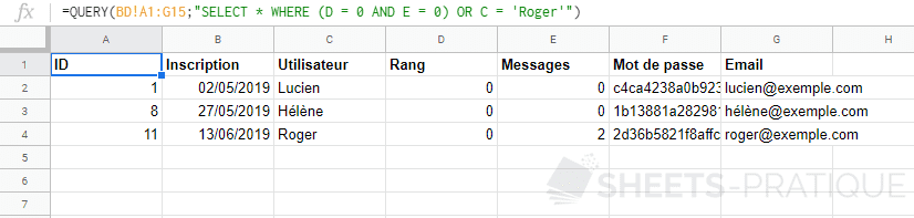 google sheets fonction query select where and or