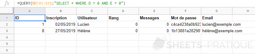 google sheets fonction query select where conditons