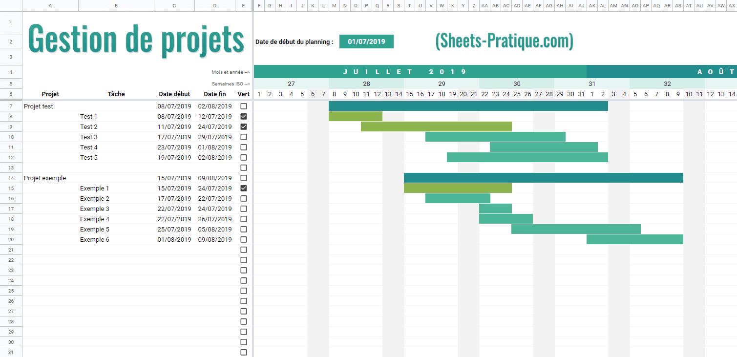 gestion projets gantt google sheets