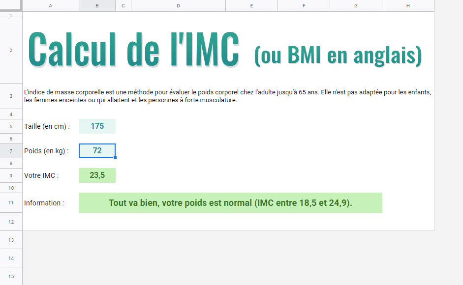 calcul imc bmi google sheets