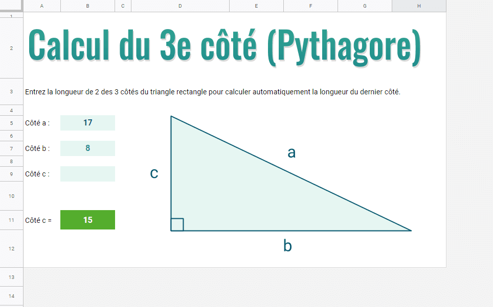 google sheets calcul cote 3 triangle rectangle pythagore