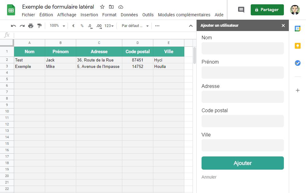 sheets google apps script sidebar formulaire