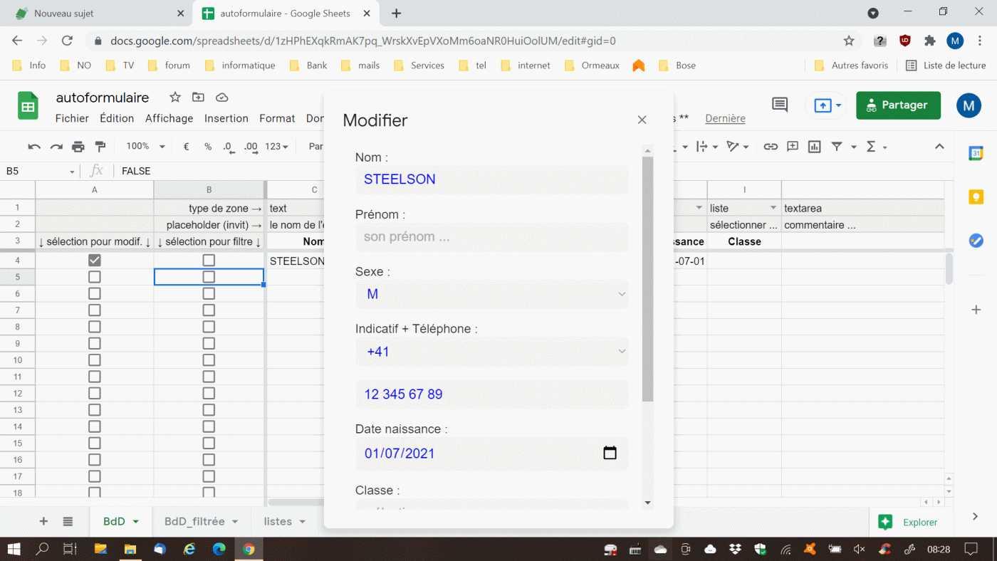 automatiser la mise en place d un formulaire sheets
